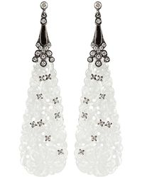Bochic | White Carved Jade and Diamond Earrings | Lyst