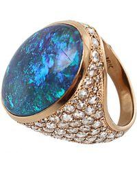 Irene Neuwirth One Of A Kind Lightening Ridge Black Opal Ring - Blue