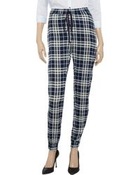 JOSEPH Staten Checked Silkcrepe Trousers - Blue