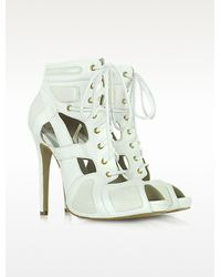McQ by Alexander McQueen Sport Cutout White Leather Bootie - Lyst