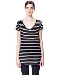 Zara Basic V-neck T-shirt - Lyst