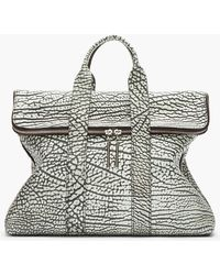 3.1 Phillip Lim Grey Two Toned 31 Hour Leather Grain Tote Bag - Lyst