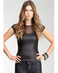 Bebe Leatherette Corset Top Web Exclusive - Black