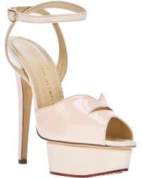 Charlotte Olympia Platform Stiletto Sandal beige - Lyst
