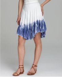 Free People Skirt Jacquard Dip Dye Hem - Blue