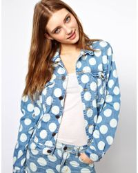 House of Holland Denim Jacket with Polka Dot Print - Blue