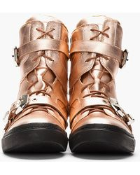 Jeffrey Campbell - Rose Gold Metallic Leather Rizzlem Buckled Sneakers - Lyst
