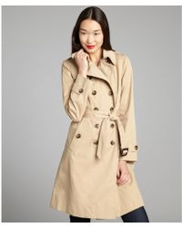 London Fog Camel Cotton Blend Belted Double Breasted Trench - Lyst