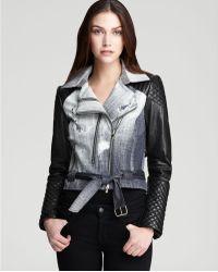 Rebecca Minkoff Short Kiefer Leather Trench  - Blue