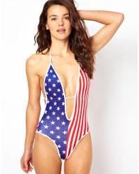 American Apparel Stripe Tricot V Swimsuit - Multicolor