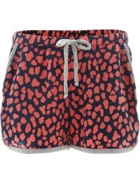 Sea Pink Leopard Print Running Shorts - Red