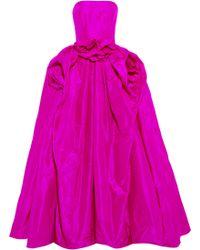 Oscar de la Renta Ruched Strapless Silk Gown - Lyst