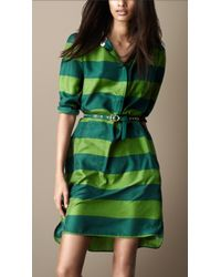 Burberry Brit Striped Silk Shirt Dress - Lyst