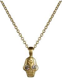Me&Ro - Gold Tiny Skull Charm with Diamonds - Lyst