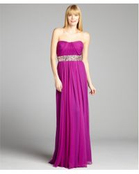 Notte by Marchesa Silk Chiffon Embellished Pleated Strapless Gown - Lyst