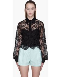 Hakaan Black Cropped Floral Lace Galega Blouse - Lyst