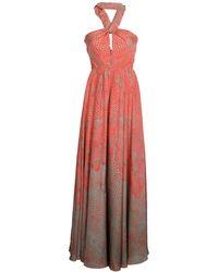 Issa Coral Printed Silk Halterneck Gown - Lyst