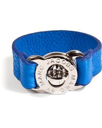 Marc By Marc Jacobs Electric Blue Leather Bracelet blue - Lyst