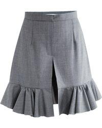 JW Anderson Birds Eye Wool Ruffle Shorts - Grey