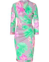Leonard - Pale Lilacmulti Floral Print Silk Wrap Dress - Lyst