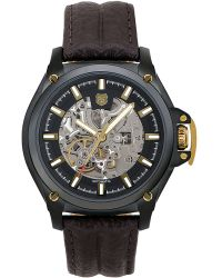 Andrew Marc - Mens Skeleton Watch with Brown Leather Strap - Lyst