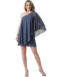 Js Boutique One Shoulder Chiffon Toga Dress - Lyst