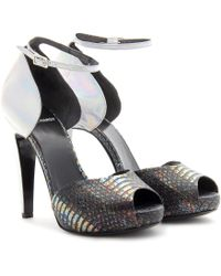 Pierre Hardy Snakeskin Accented Platform Sandals - Lyst