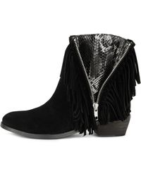 Zadig & Voltaire Low Fringed Boots  black - Lyst