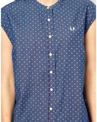 Fred Perry Polka Dot Grandad Collar Shirt - Blue