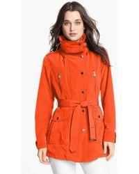 London Fog Belted Jacket with Hidden Hood - Lyst