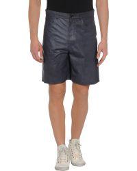 Trussardi Leather Trousers - Blue