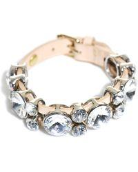 Nina Ricci Swarovski Embellished Leather Bracelet beige - Lyst