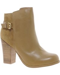 Oasis Buckle Suede and Leather Ankle Boots - Brown