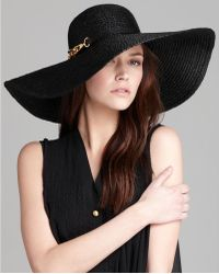 Rachel Zoe Straw Sun Hat - Black
