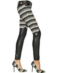 Fausto Puglisi Nappa Plonge and Cotton Denim Jeans - Black