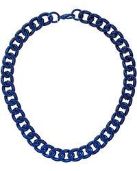 Topshop Metallic Curb Chain Collar blue - Lyst