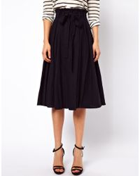 ASOS Collection Linen Midi Skirt with Belt - Lyst