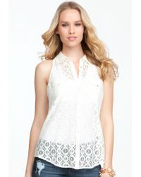 Bebe Sleeveless Lace Button Up Blouse - Lyst