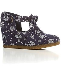 F-Troupe - The Knot Wedge Shoe in Blue Bandana Canvas - Lyst