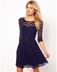 ASOS Collection Skater Dress in Lace with Three-Quarter Sleeves and Belt - Lyst