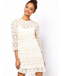 Asos Asos Shift Dress in Crochet Lace - Lyst