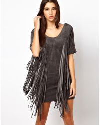 ASOS Collection | Premium Dress in Suede with Fringe Detail | Lyst