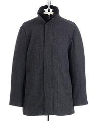 Calvin Klein Gray Herringbone Coat - Lyst