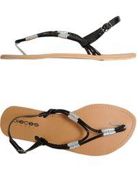 Pieces Thong Sandal black - Lyst