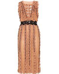 Bottega Veneta Chiffon Dress with Floral Appliqué and Bead Embellishment beige - Lyst