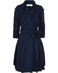 Nina Ricci Silktrimmed Brushedsatin Trench Coat - Blue