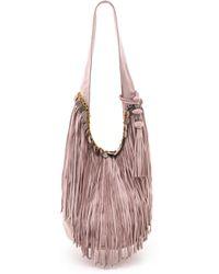 Simone Camille Fringe Bucket Bag - Pink