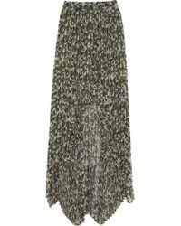 Karl Lagerfeld Sunray Camo Print Silkblend Maxi Skirt - Green
