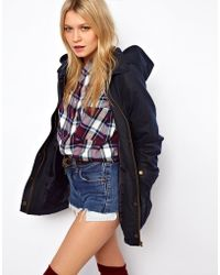 ASOS Collection Waxed Hooded Jacket with Check Lined Hood - Lyst