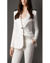 Burberry Leather Detail Long Tailored Jacket - Lyst